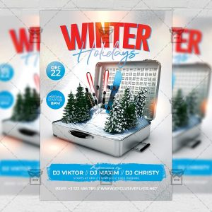 Winter Holidays Flyer - Winter PSD Template