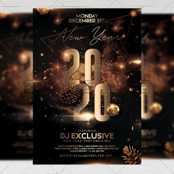 2020 New Year Flyer - Winter PSD Template