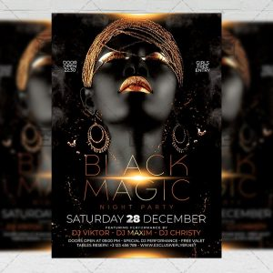 Black Magic Night Flyer - Club PSD Template