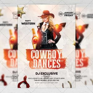 Cowboy Dances Flyer - Western PSD Template