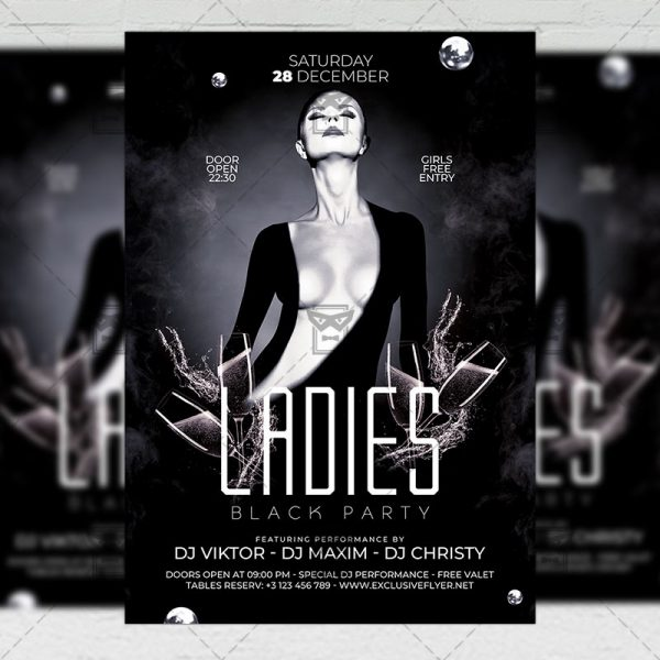 Ladies Black Party Flyer - Club PSD Template