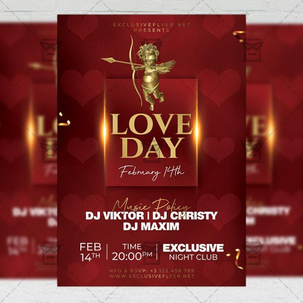 Love Day Party Flyer - Winter PSD Template