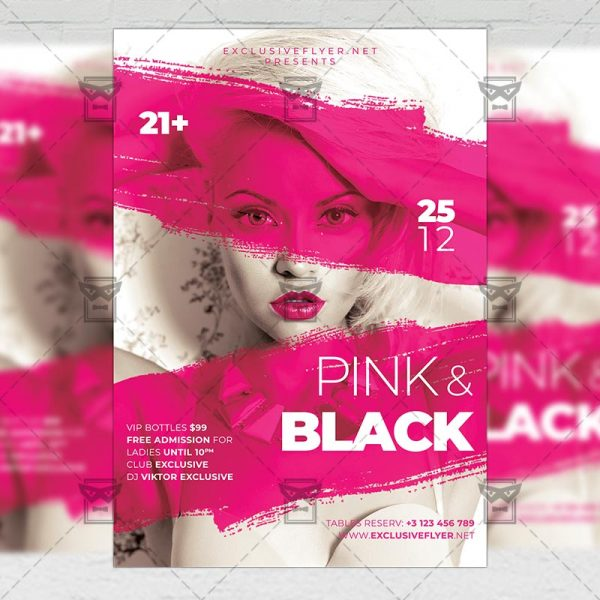 Pink and Black Affair Flyer - Club PSD Template