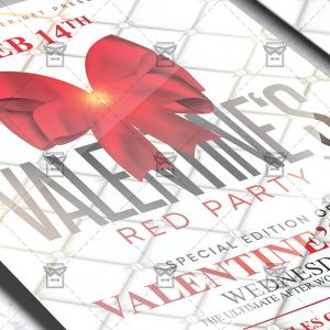 Valentine Red Party Flyer - Winter PSD Template