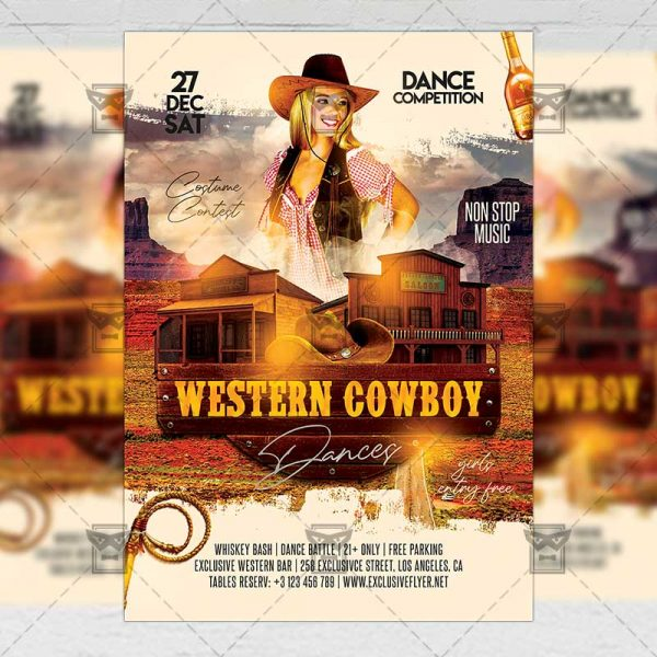 Western Cowboy Dances Flyer - Western PSD Template