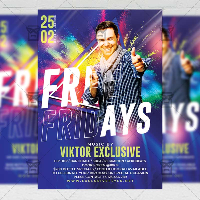 Free Fridays Template - Flyer PSD + Instagram Ready Size