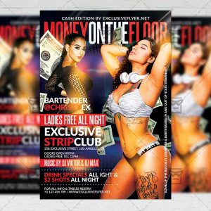 Money on the Floor Party Template - Flyer PSD + Instagram Ready Size