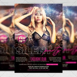 Silent Party Template - Flyer PSD + Instagram Ready Size