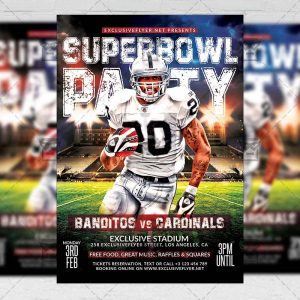 Super Bowl Party Template - Flyer PSD + Instagram Ready Size