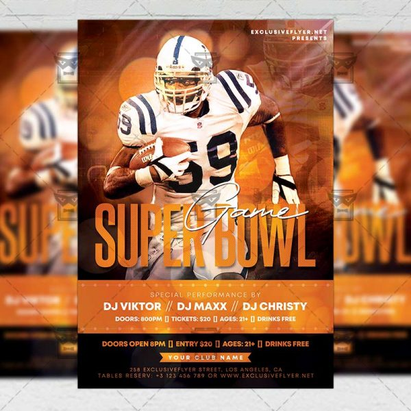 Super Bowl Game 2020 Template - Flyer PSD + Instagram Ready Size