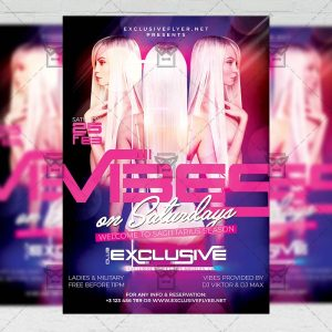 Vibes on Saturdays Template - Flyer PSD + Instagram Ready Size