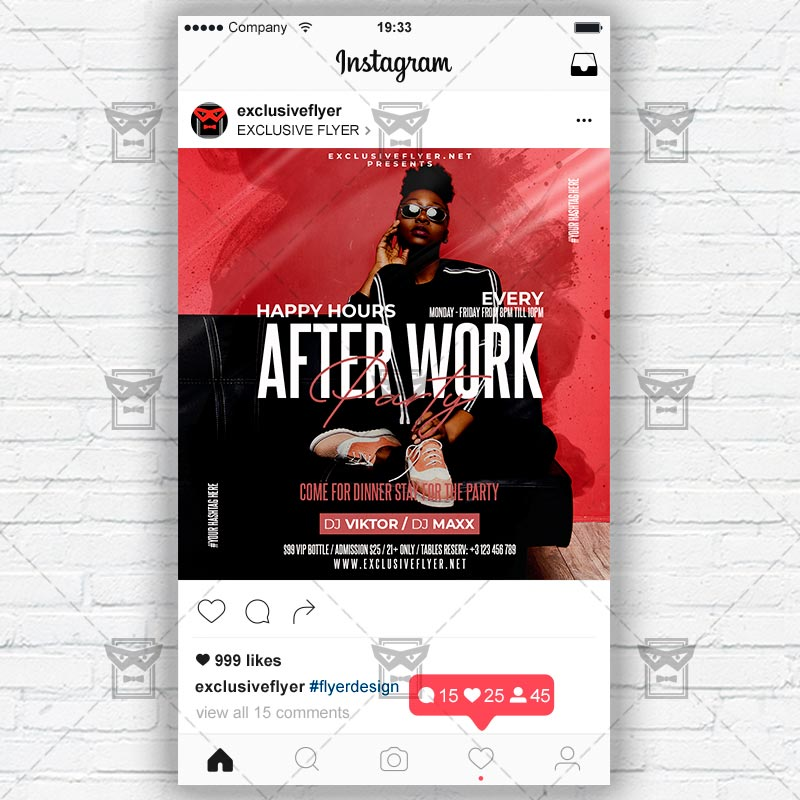 After Work Party Template - Flyer PSD + Instagram Ready Size