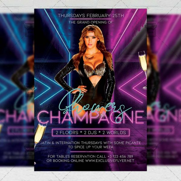 Champagne Showers Template - Flyer PSD + Instagram Ready Size