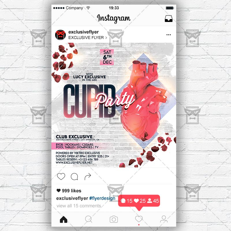 Cupid Party Template – Flyer PSD + Instagram Ready Size