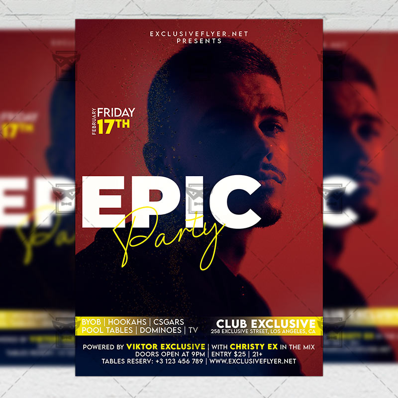 Epic Party Template - Flyer PSD + Instagram Ready Size