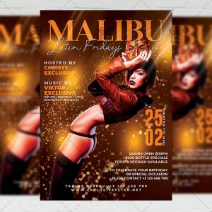 Malibu Latin Nights Template - Flyer PSD + Instagram Ready Size