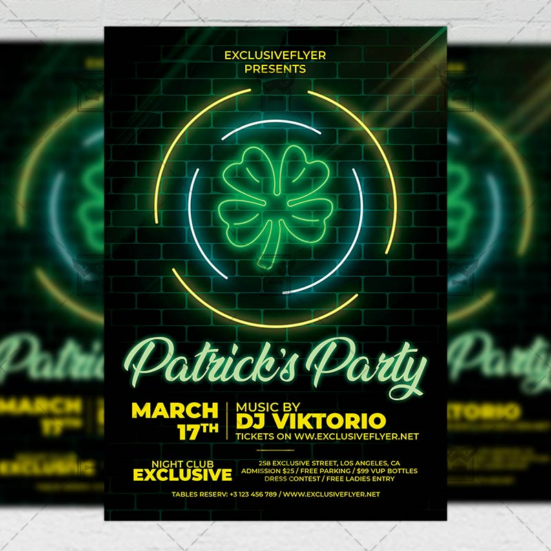Neon St. Patrick's Party Template - Flyer PSD + Instagram Ready Size