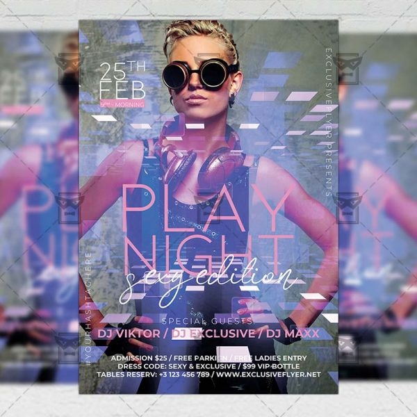 Play Night Template - Flyer PSD + Instagram Ready Size