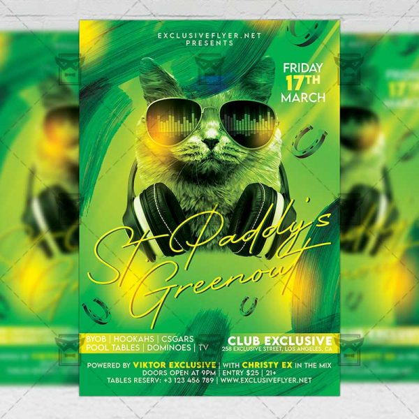 St. Paddy's Greenout Template - Flyer PSD + Instagram Ready Size