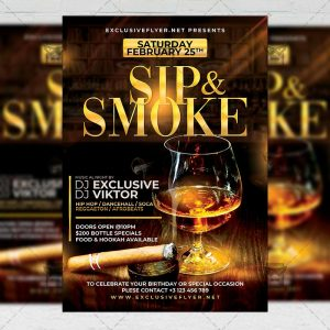 Sip and Smoke Template - Flyer PSD + Instagram Ready Size
