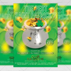 St. Patrick's Greenout Template - Flyer PSD + Instagram Ready Size