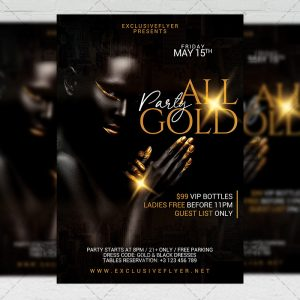 All Gold Party Template - Flyer PSD + Instagram Ready Size