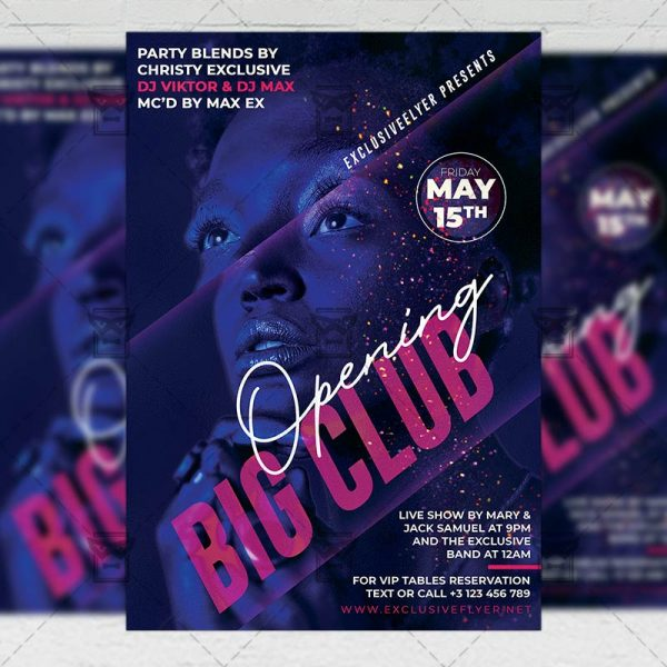 Big Club Opening Template - Flyer PSD + Instagram Ready Size