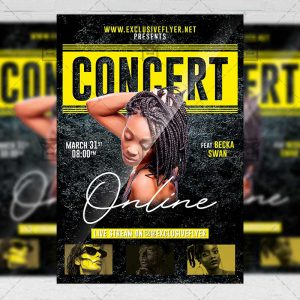 Big Online Concert Template - Flyer PSD + Instagram Ready Size