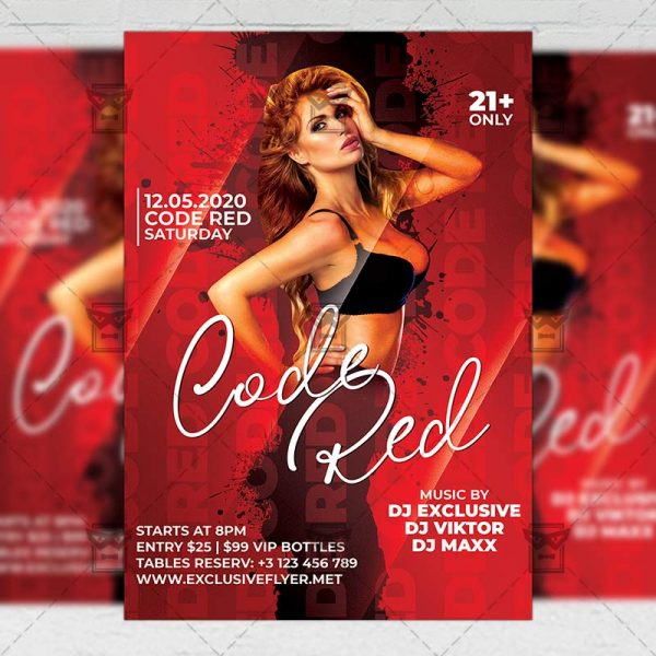 Code Red Template - Flyer PSD + Instagram Ready Size