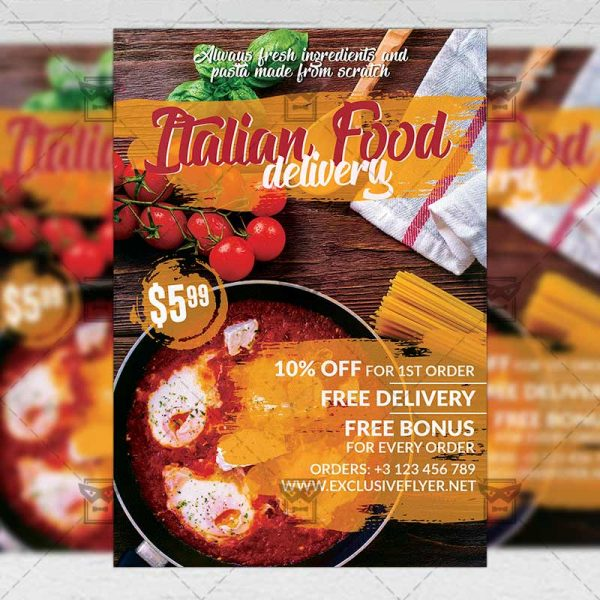 Delivery Italian Food Template - Flyer PSD + Instagram Ready Size