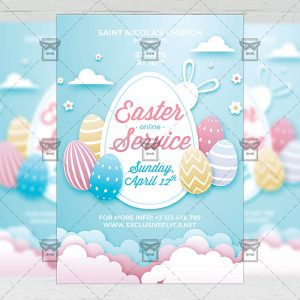 Easter Online Service Template - Flyer PSD + Instagram Ready Size
