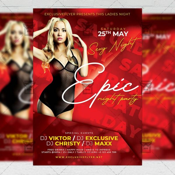 Epic Night Party Template - Flyer PSD + Instagram Ready Size