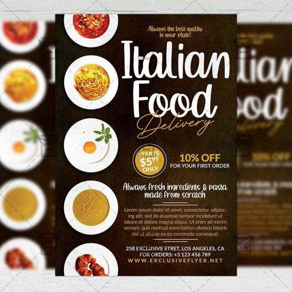 Italian Food Delivery Template - Flyer PSD + Instagram Ready Size