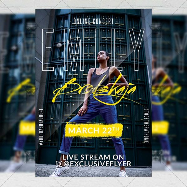 Online Concert Template - Flyer PSD + Instagram Ready Size