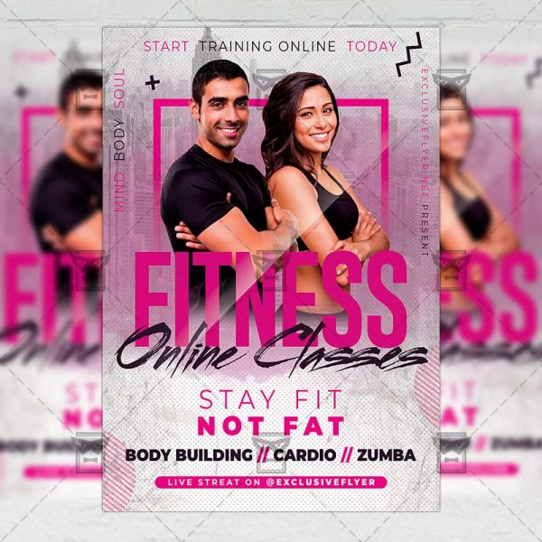 Online Fitness Classes Template - Flyer PSD + Instagram Ready Size