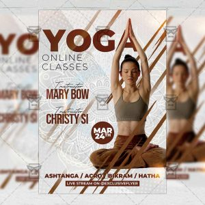 Online Yoga Classes Template - Flyer PSD + Instagram Ready Size