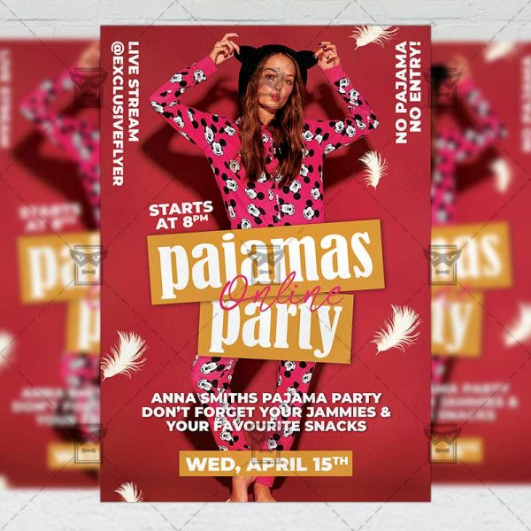 Pajamas Online Party Template - Flyer PSD + Instagram Ready Size