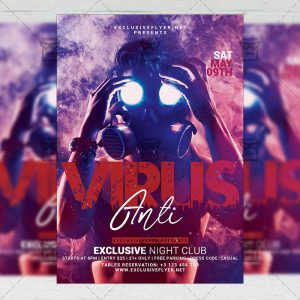 Anti Virus Online Party - Flyer PSD Template