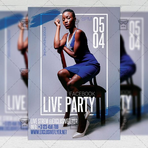 Facebook Live Party Template - Flyer PSD Optimized for Instagram