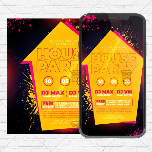 House Party Flyer PSD - Optimized for Instagram