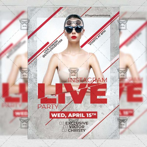 Instagram Live Party Template - Flyer PSD + Instagram Ready Size