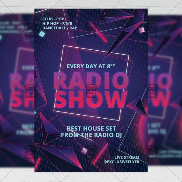 Live Radio Show Template - Flyer PSD Optimized for Instagram