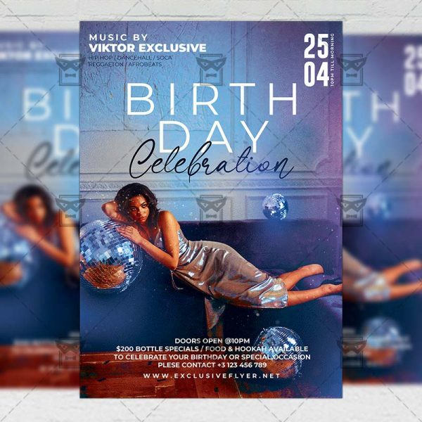 Online Birthday Celebration Template - Flyer PSD Optimized for Instagram