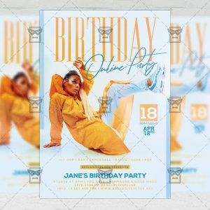 Online Birthday Party Template - Flyer PSD Optimized for Instagram