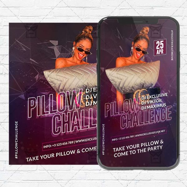 Pillow Challenge Flyer PSD - Optimized for Instagram
