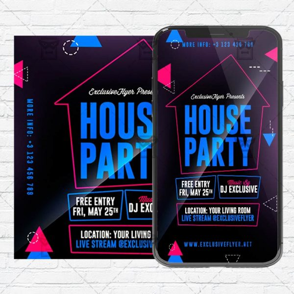 Stay Home Party Flyer PSD - Optimized for Instagram