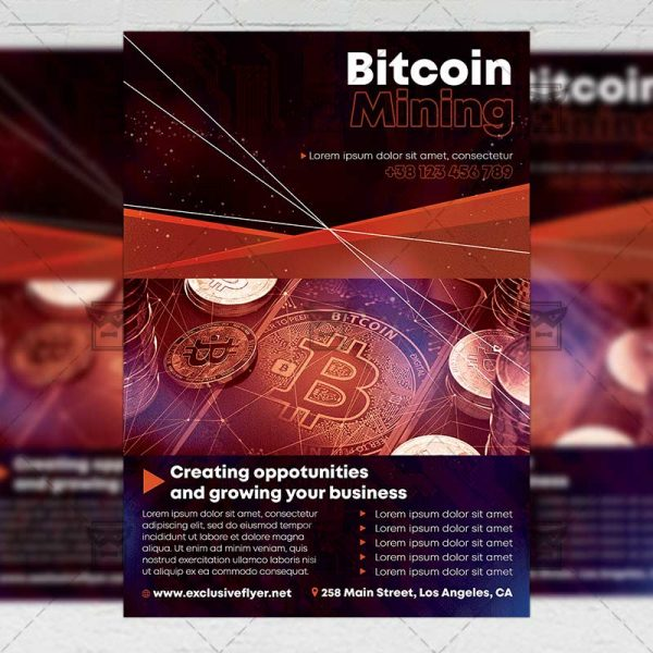 Bitcoin Mining - Flyer PSD Template
