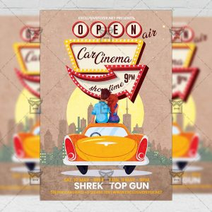 Open Air Car Cinema - Flyer PSD Template