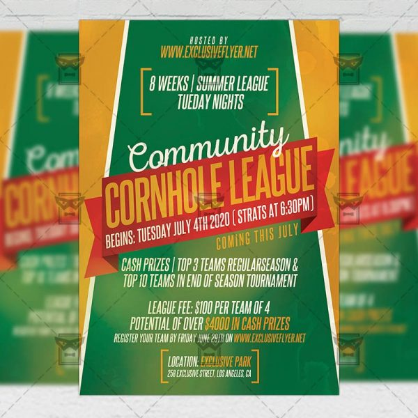 Cornhole League - Flyer PSD Template