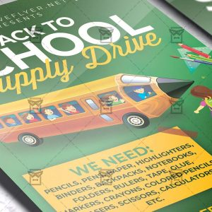 Back to School Supply Drive - Flyer PSD Template